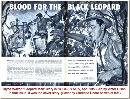 RUGGED MEN, April 1956. Victor Olson art, Bryce Walton Leopard Men story