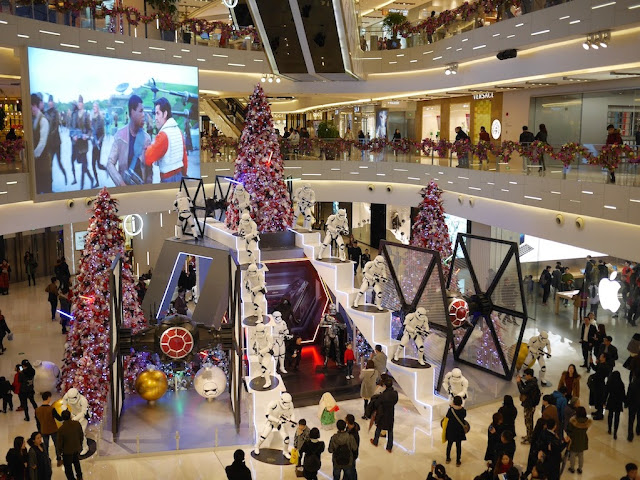 Star Wars Christmas display at the IAPM shopping center in Shanghai