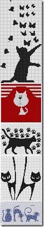 siluetas gatos punto de cruz monocromo  (27)