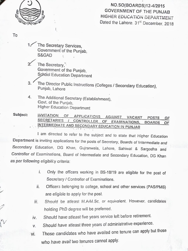 INVITATION OF APPLICATIONS FOR SECRETARIES / CONTROLLER OF EXAMINATIONS BOARDS OF INTERMEDIATE AND SECONDARY EDUCATION
