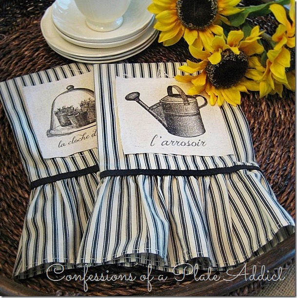 CONFESSIONS OF A PLATE ADDICT French Ticking Tea Towels from a Pillowcase