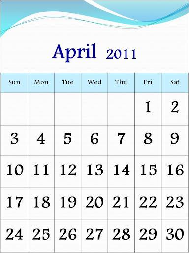 Blank 2011 Calendar Pages. Mar , lank calendar, april