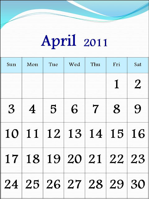 printable monthly calendar april 2011. 2011 Calendar April
