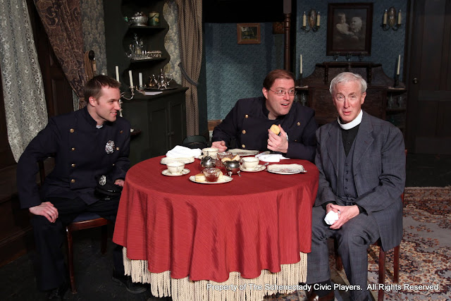 Michael Rzepka, Richard Messina and Don Wheeler in ARSENIC AND OLD LACE (R) - May 2011.  Property of The Schenectady Civic Players Theater Archive.
