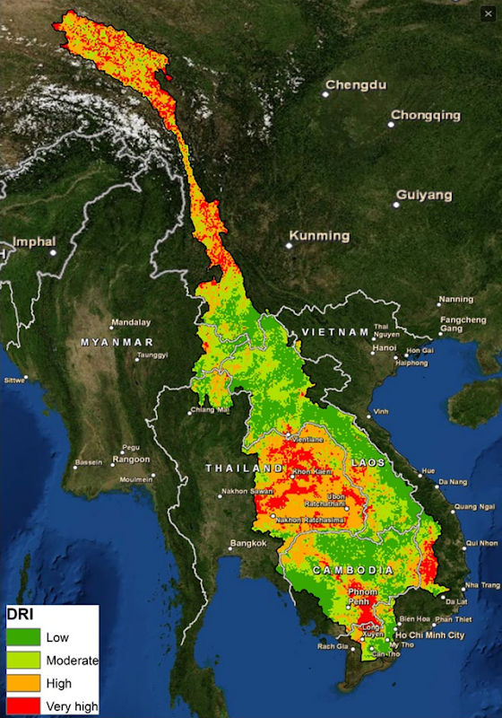 A Drought Risk Index map of the Mekong River Basin, April 2016. The areas in red are those that have been most impacted by the El Niño-driven drought that is occurring now in the region. Graphic: FutureWater