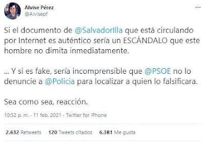 Segundo tuit Alvise Pérez