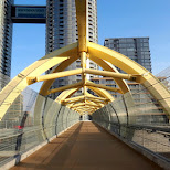 giant yellow bridge at cityplay Toronto, great for selfies in Toronto, Ontario, Canada