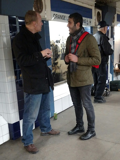 This is Emrah, a Muslim from Turkey. He let a number of trains go by to continue talking with Chris about Jesus. Emrah offered to become Facebook friends with Chris. That's cool!
