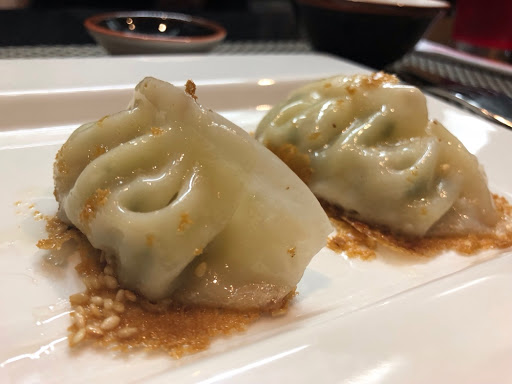 Chicken dumplings with ponzu sauce