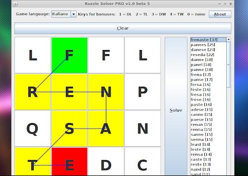 Ruzzle Solver PRO su Linux
