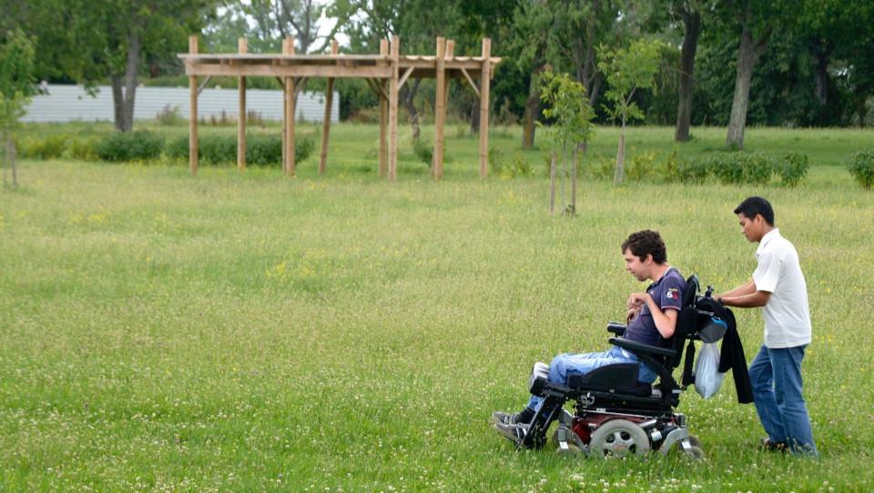 personne poussant une personne handicapée en fauteuil roulant dans un champs à l'extérieur