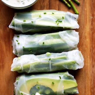 Spring Green Vegetable Rolls with Herbed Tzatziki