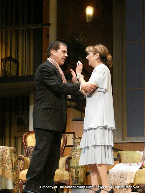 John Massaroni and Benita Zahn in THE ROYAL FAMILY (R) - December 2011.  Property of The Schenectady Civic Players Theater Archive.