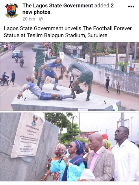 Lagos State Government unveils The Football Forever Statue at Teslim Balogun Stadium, Surulere