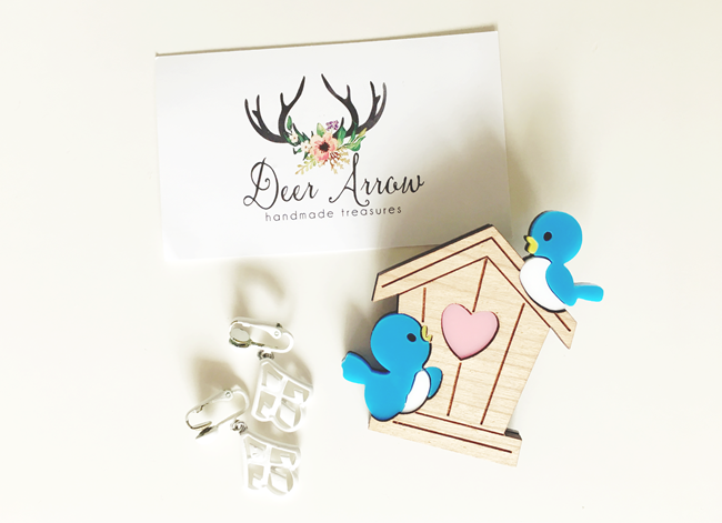Deer Arrow Blue Birds Brooch | Lavender & Twill