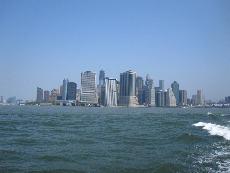 Lower Manhattan skyscrapers with the Freedom Tower still being built