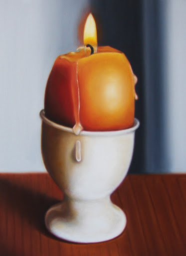 "Egg Candle 9"" by 12"" oil on panel. Artist Judy Prisoc"