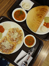 """Photo: Quick, Cheap and Delicious! My favourite Onions & Tomatoes Cheese Uttapam (left) and Paper Masala Dosa with yummy Sambar soup at Up South (http://www.zomato.com/pune/upsouth-viman-nagar). Tricolor is three different chutneys. Their stronger """"Filter Coffee"""" is also my favourite! 27th March updated (日本語はこちら) -http://jp.asksiddhi.in/daily_detail.php?id=495"""