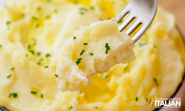 mashed potatoes with sour cream - a forkful