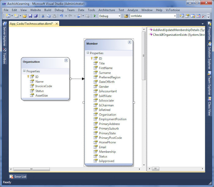 LINQ to SQL design Surface