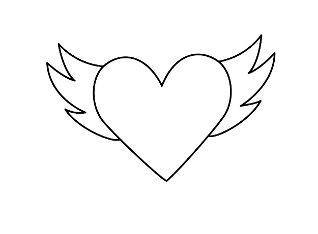 Printable Heart With Wings Coloring Pages For Kids