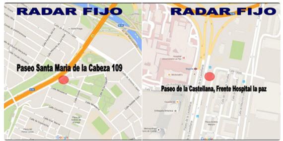 Nuevos radares fijos en Paseo de Sta. María de la Cabeza y de la Castellana
