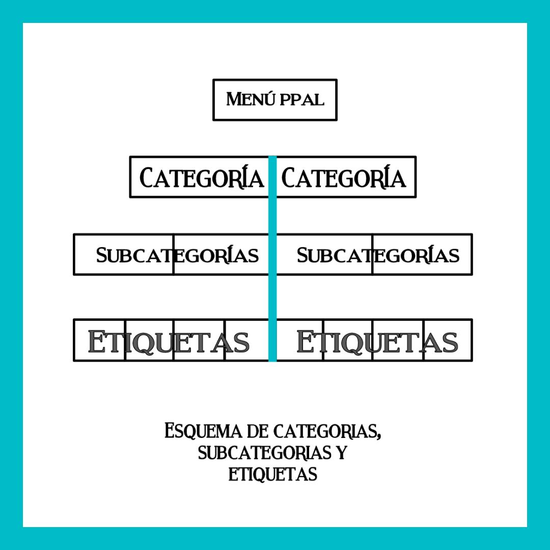 categorias subcategorias y etiquetas