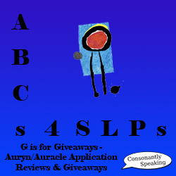 ABCs 4 SLPs: G is for Giveaways - Auryn/Auracle Application Reviews and Giveaways image