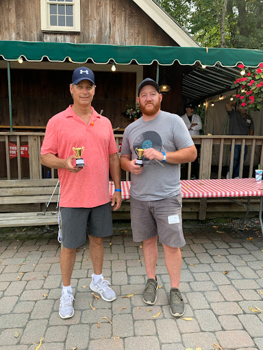 Bill Peach and Ryan Sexton posing with their mini trophies for winning the Longest Drive golf contest