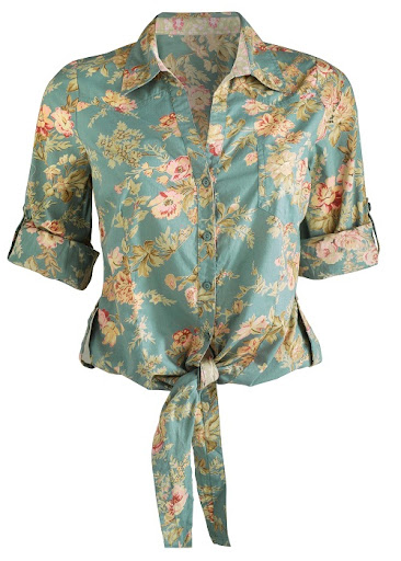 Matalan Retro Floral Crop Shirt