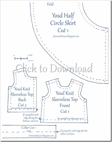 Yosd Bjd Sleeveless Knit Top and Half Circle Skirt Pattern with Tutorial