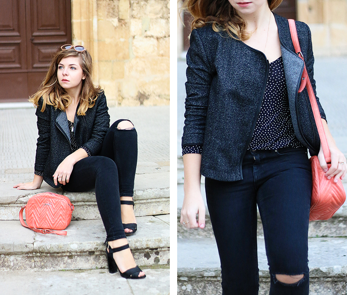 outfit ideas with black jeans, sober look with a pop of colour, coral handbag, knee ripped jeans, casual chic outfit