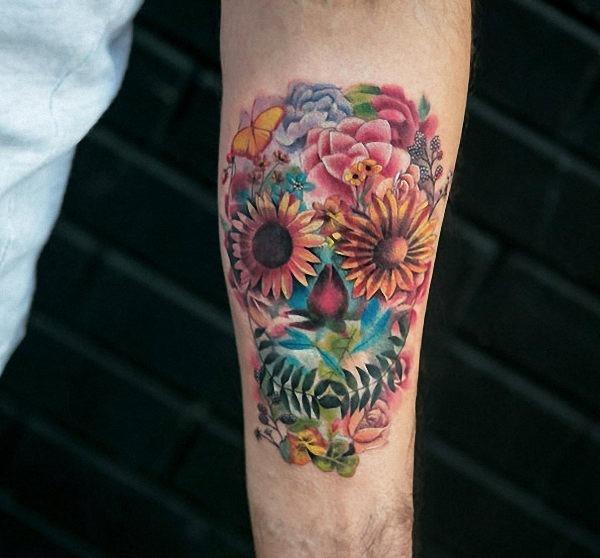 este_floral_tatuagem_de_caveira