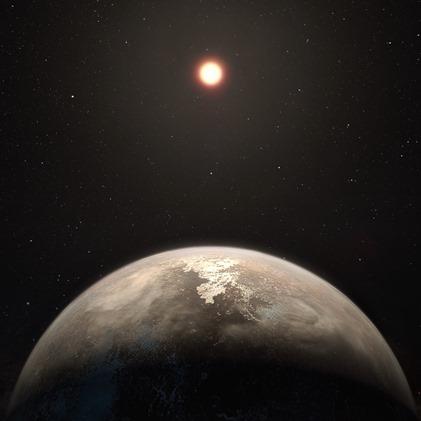 ilustração do planeta Ross 128b e sua estrela anã vermelha hospedeira