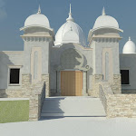 The temple entrance (computer rendering)