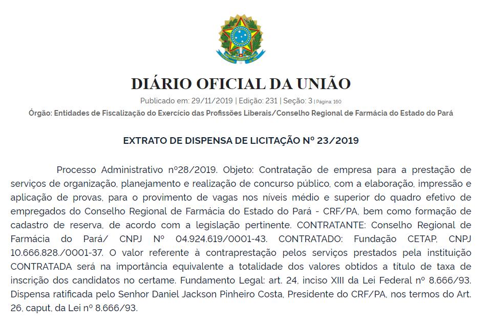 Concurso CRF PA: Banca Definida!