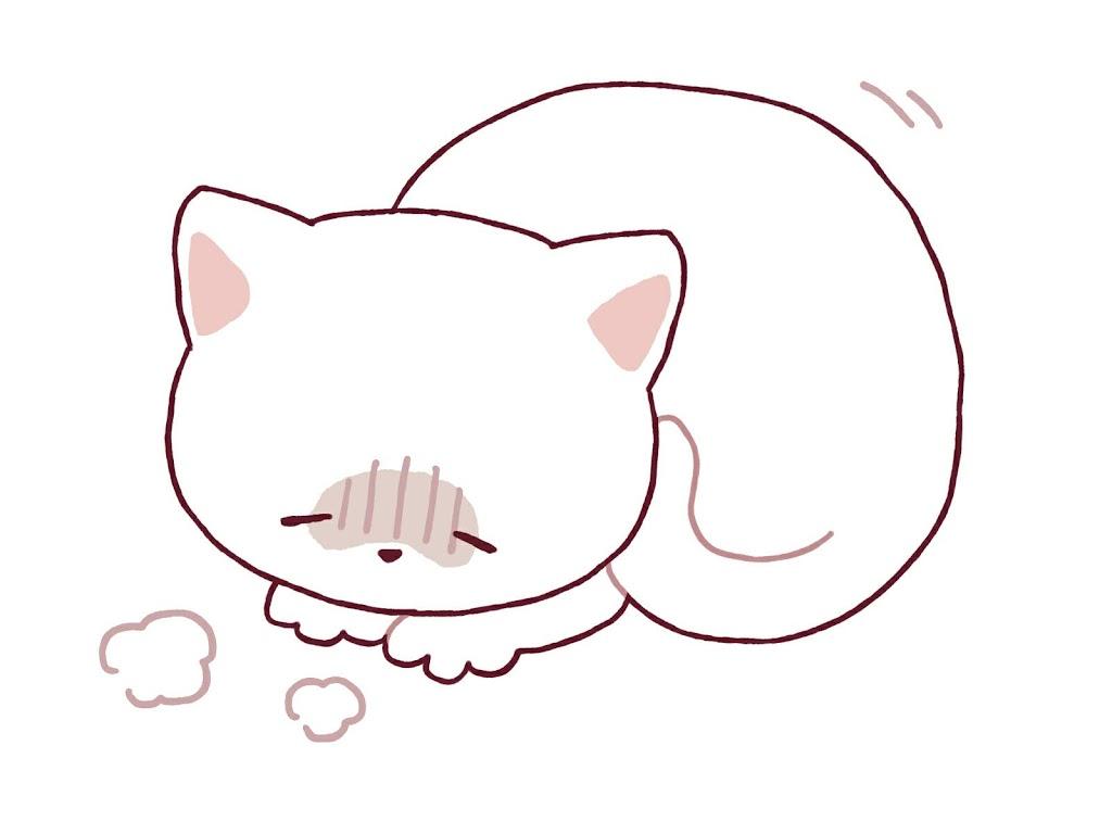 病気で弱っている猫のイラスト