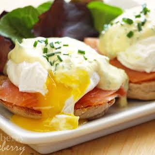 Scandinavian Eggs Benedict with Yogurt Sauce.