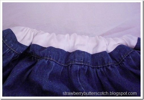 Turning a long blue skirt into an even cuter skirt.