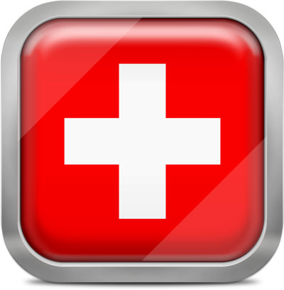 Switzerland square flag with metallic frame
