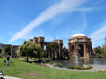 Larry & I disembarked the bus and walked to the Palace of Fine Arts