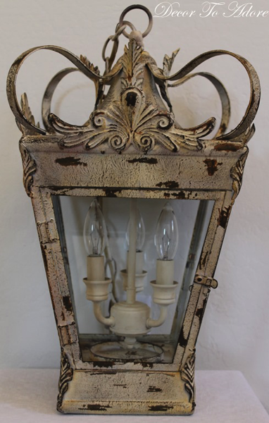 French lantern makeover of 80s chandelier