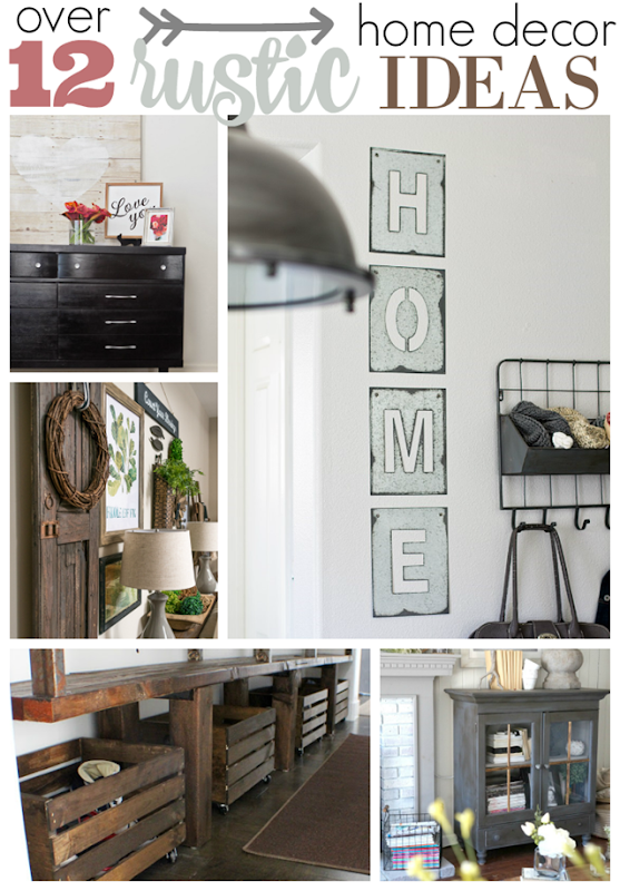 Over 12 Rustic Home Decor Ideas at GingerSnapCrafts.com #rustic #industrial #homedecor