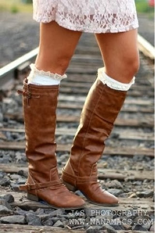 Adorable leather brown long boots for fall with white socks