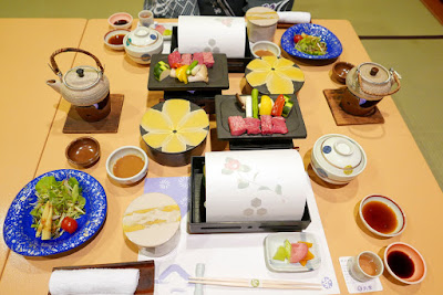 Traditional Dinner in our room at our ryokan Wakakusa no Yado Maruei, there were so many plates I would take a photo and then she'd be back with another dish to add!