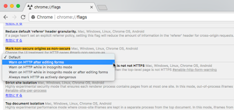 Chrome://flags にて「 Mark non-secure origins as non-secure 」を「 Warn on HTTP after editing forms 」に変更