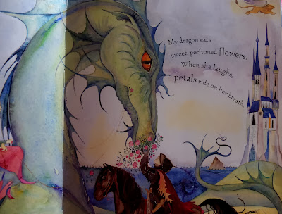 Inside illustration for Tell Me a Dragon by Jackie Morris