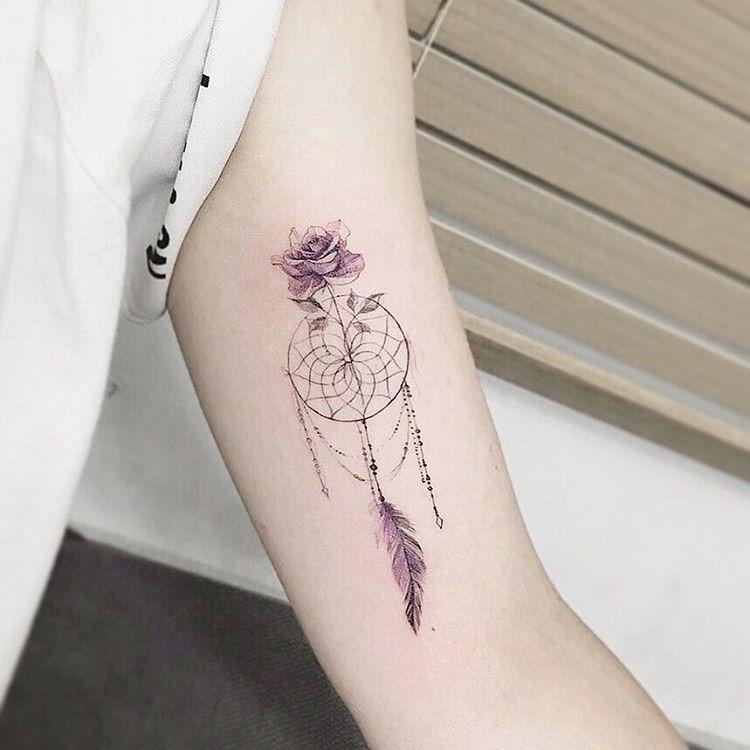 este_dreamcatcher_aquarela_flor_da_tatuagem