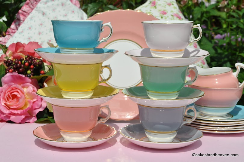 Harlequin Colours Teacups and Saucers