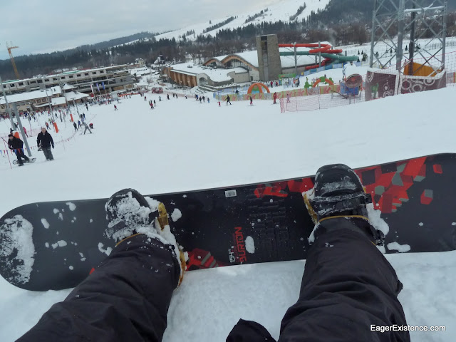 sitting, waiting, wishing at the top of the beginner slope
